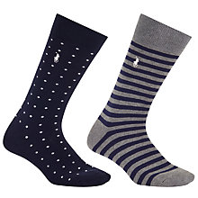 Buy Polo Ralph Lauren Stripe Spot Socks, One Size, Pack of 2, Navy/Grey Online at johnlewis.com