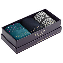 Buy Ted Baker Venuz Sock Gift Set, One Size, Pack of 3, Navy/Teal/Grey Online at johnlewis.com