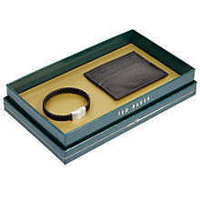 Buy Ted Baker Catoo Leather Bracelet and Card Holder Set, Black Online at johnlewis.com