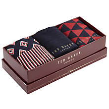 Buy Ted Baker Cupid Geo Print Socks, One Size, Pack of 3, Black/Red Online at johnlewis.com