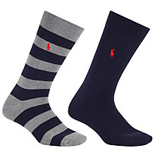 Buy Polo Ralph Lauren Rugby Stripe and Plain Socks, One Size, Pack of 2 Online at johnlewis.com