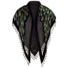 Buy Chesca Velvet Peacock Feather Shawl, Black Online at johnlewis.com