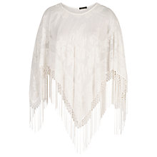 Buy Chesca Devoré  Fringed Poncho, Cream Online at johnlewis.com