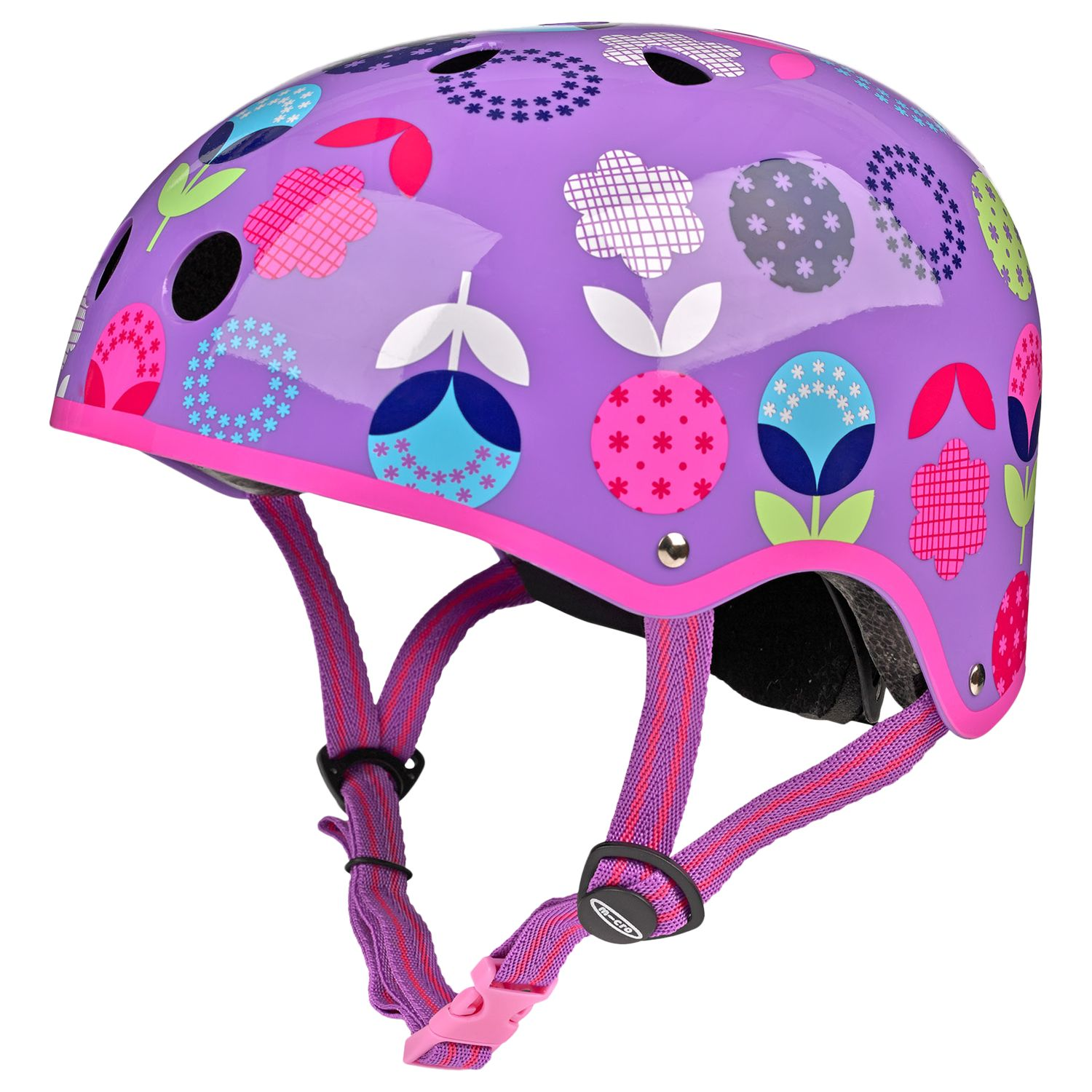 Micro Micro Scooter Floral Dot Safety Helmet, Medium