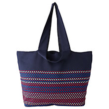 Buy Whistles Malba Knit Tote Bag, Navy/Red Online at johnlewis.com