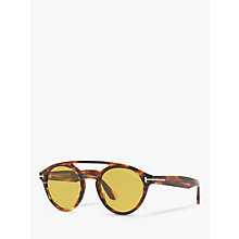 Buy TOM FORD FT0537 Clint Round Sunglasses, Tortoise/Yellow Online at johnlewis.com
