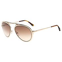 Buy TOM FORD FT0508 Aviator Sunglasses, Gold/Beige Gradient Online at johnlewis.com