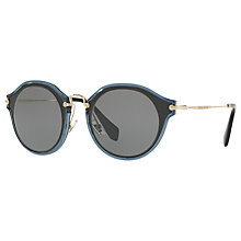 Buy Miu Miu MU 51SS Round Sunglasses, Black/Grey Online at johnlewis.com