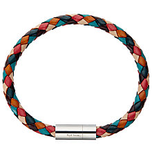 Buy Paul Smith Leather Plaited Bracelet, Multi Online at johnlewis.com