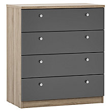 Buy House by John Lewis Mix it Cone Handle Wide 4 Drawer Chest, Gloss House Steel/Grey Ash Online at johnlewis.com