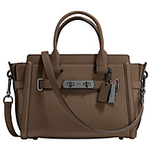 Buy Coach Swagger 27 Glovetanned Leather Across Body Bag, Grey Online at johnlewis.com
