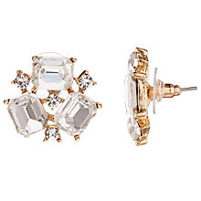 Buy John Lewis Cluster Cubic Zirconia Stud Earrings, Gold Online at johnlewis.com
