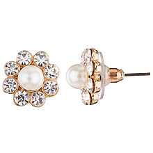 Buy John Lewis Faux Pearl and Cubic Zirconia Cluster Stud Earrings, Gold/White Online at johnlewis.com