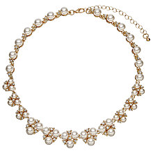 Buy John Lewis Faux Pearl and Cubic Zirconia Cluster Collar Necklace Online at johnlewis.com