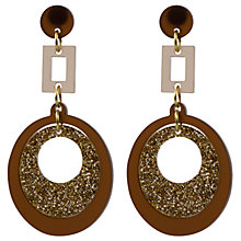 Buy Toolally Circle and Square Drop Earrings, Chocolate Glitter Online at johnlewis.com