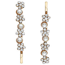 Buy John Lewis Faux Pearl and Cubic Zirconia Hair Grips, Pack of 2, Gold Online at johnlewis.com