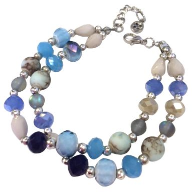 One Button One Button Double Row Beaded Bracelet, Blue Mix