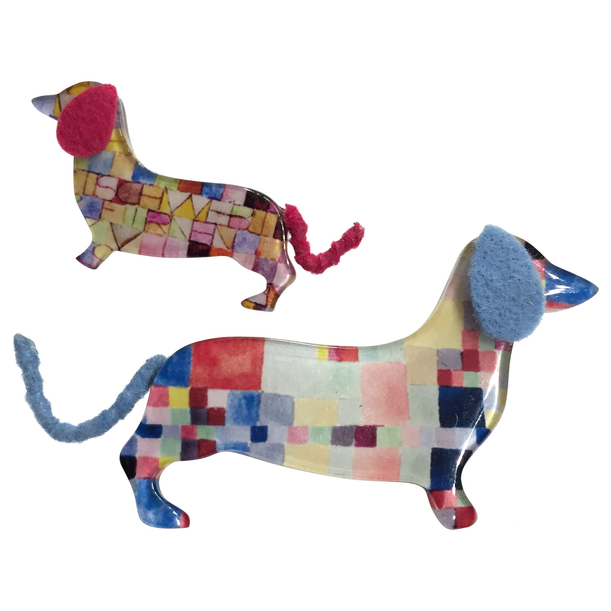 One Button One Button Mummy and Baby Sausage Dog Brooch, Multi