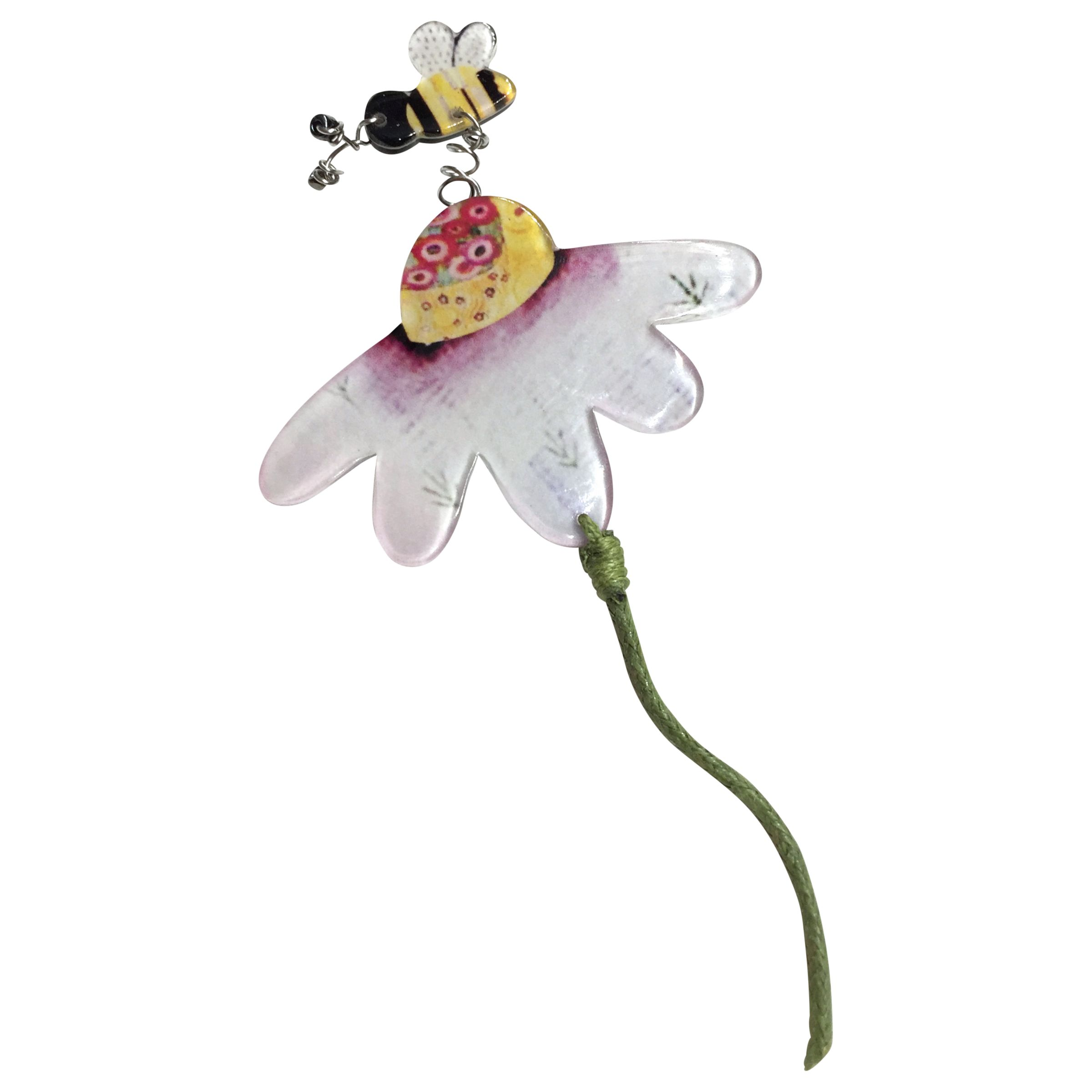 One Button One Button Daisy and Flying Bumble Bee Brooch, Multi
