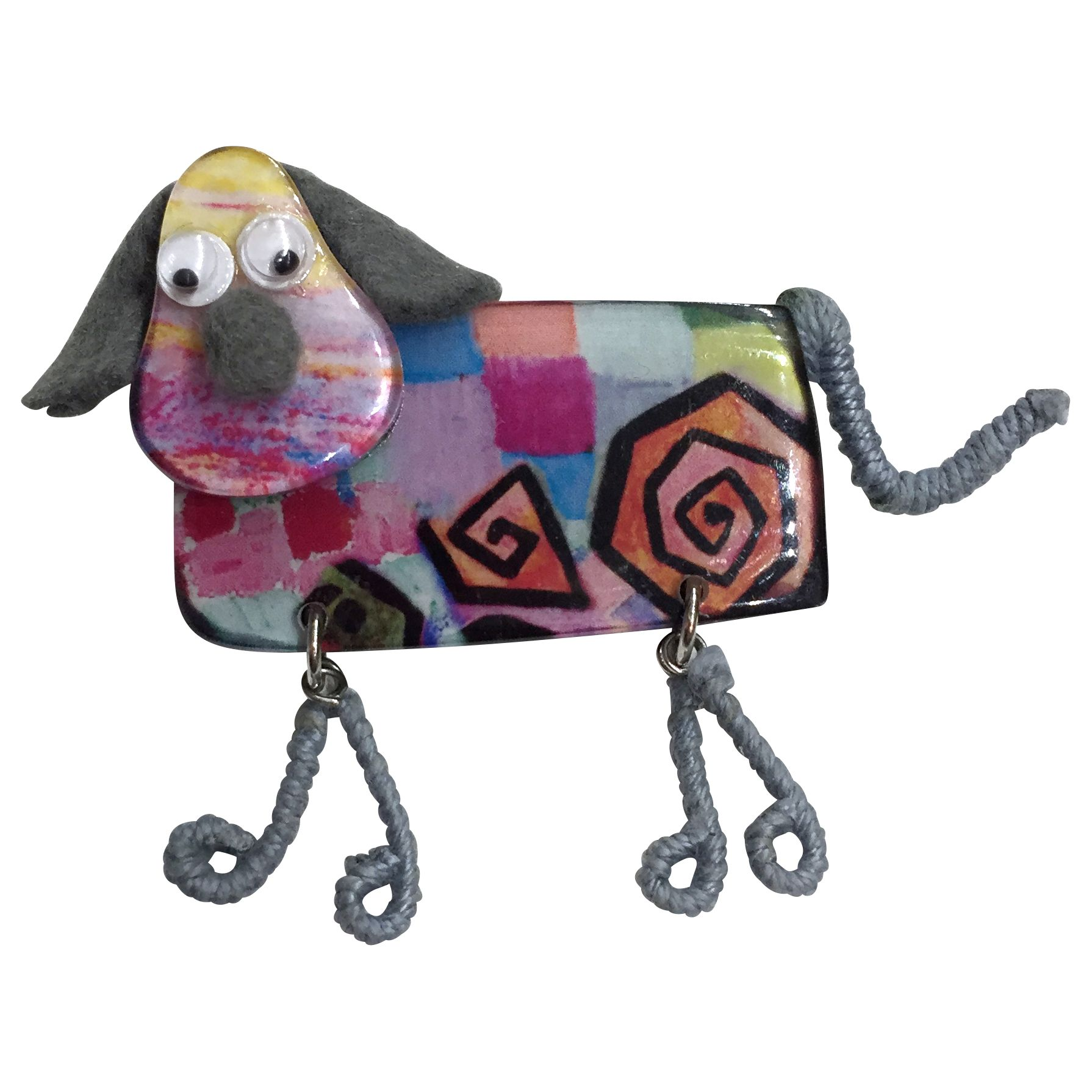 One Button One Button Resin Dangly Legs Doggy Brooch, Multi