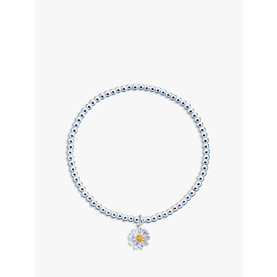 Estella Bartlett Sienna Flower Charm Stretch Bracelet, Silver