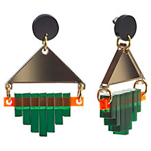 Buy Toolally Diamond Squares Drop Earrings, Forest Green/Bronze Online at johnlewis.com