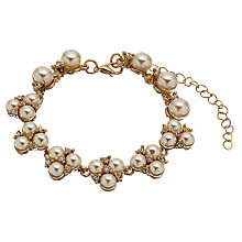 Buy John Lewis Faux Pearl and Cubic Zirconia Cluster Bracelet, Gold Online at johnlewis.com