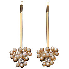 Buy John Lewis Faux Pearl and Cubic Zirconia Cluster Hair Grips, Pack of 2, Gold Online at johnlewis.com