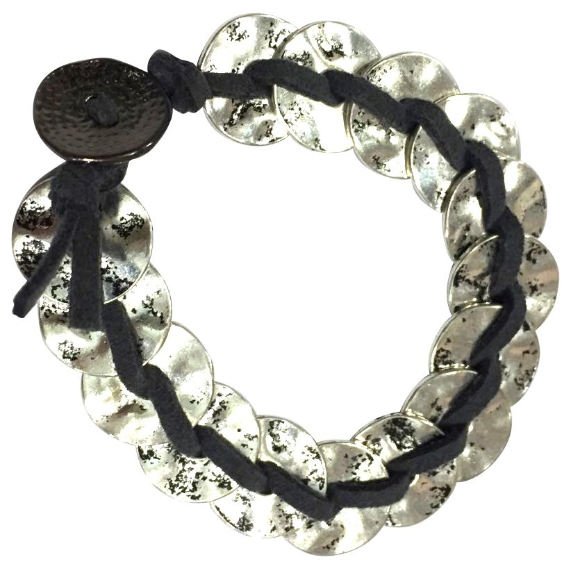 One Button One Button Doughnuts Suede Stap Bracelet, Black/Silver