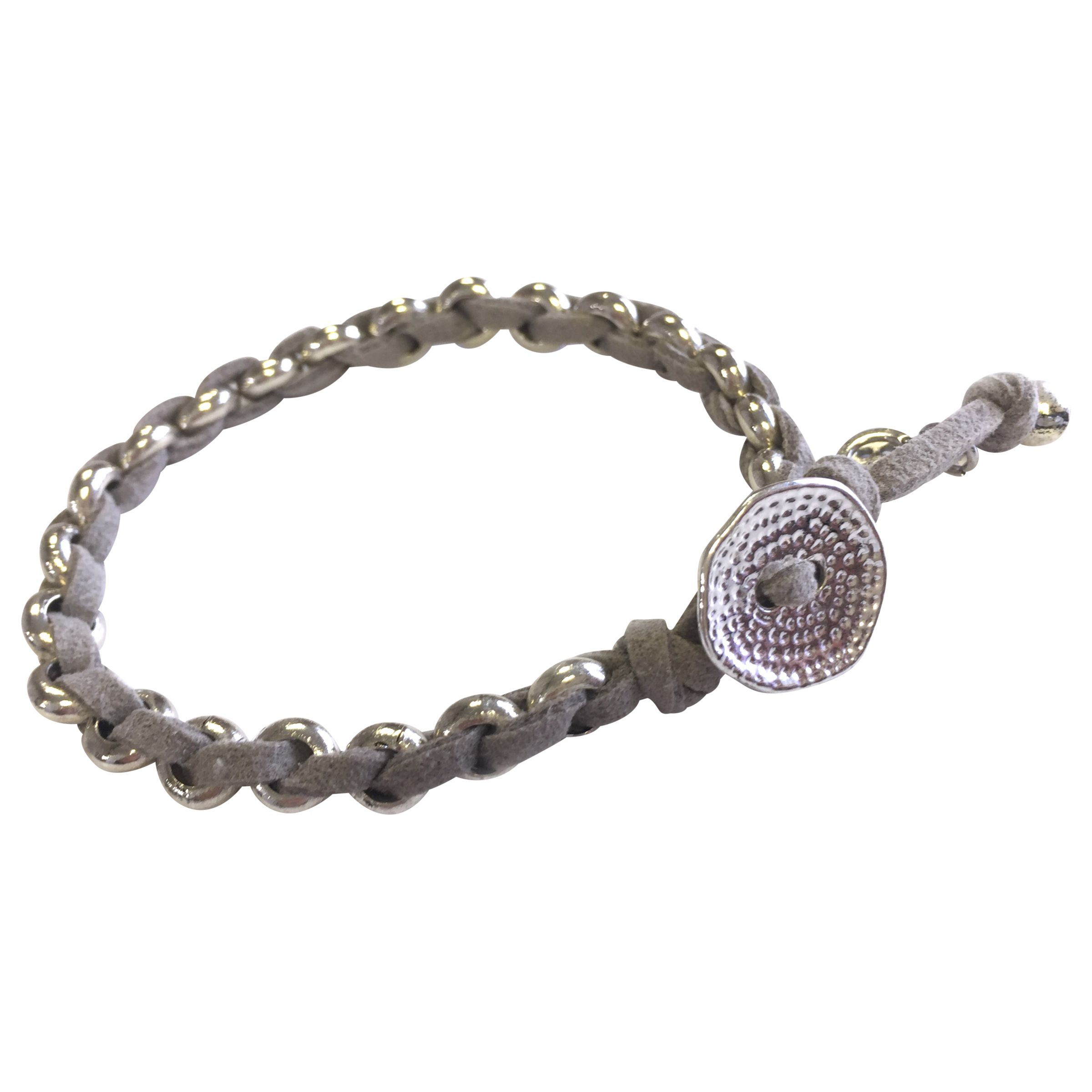 One Button One Button Suede and Bead Bracelet, Grey/Silver