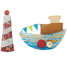 Buy One Button Lighthouse and Fishing Boat Resin Brooch, Multi Online at johnlewis.com