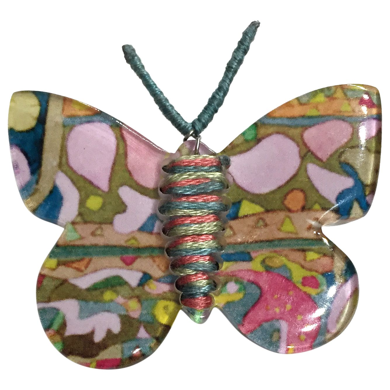 One Button One Button Butterfly Brooch, Multi