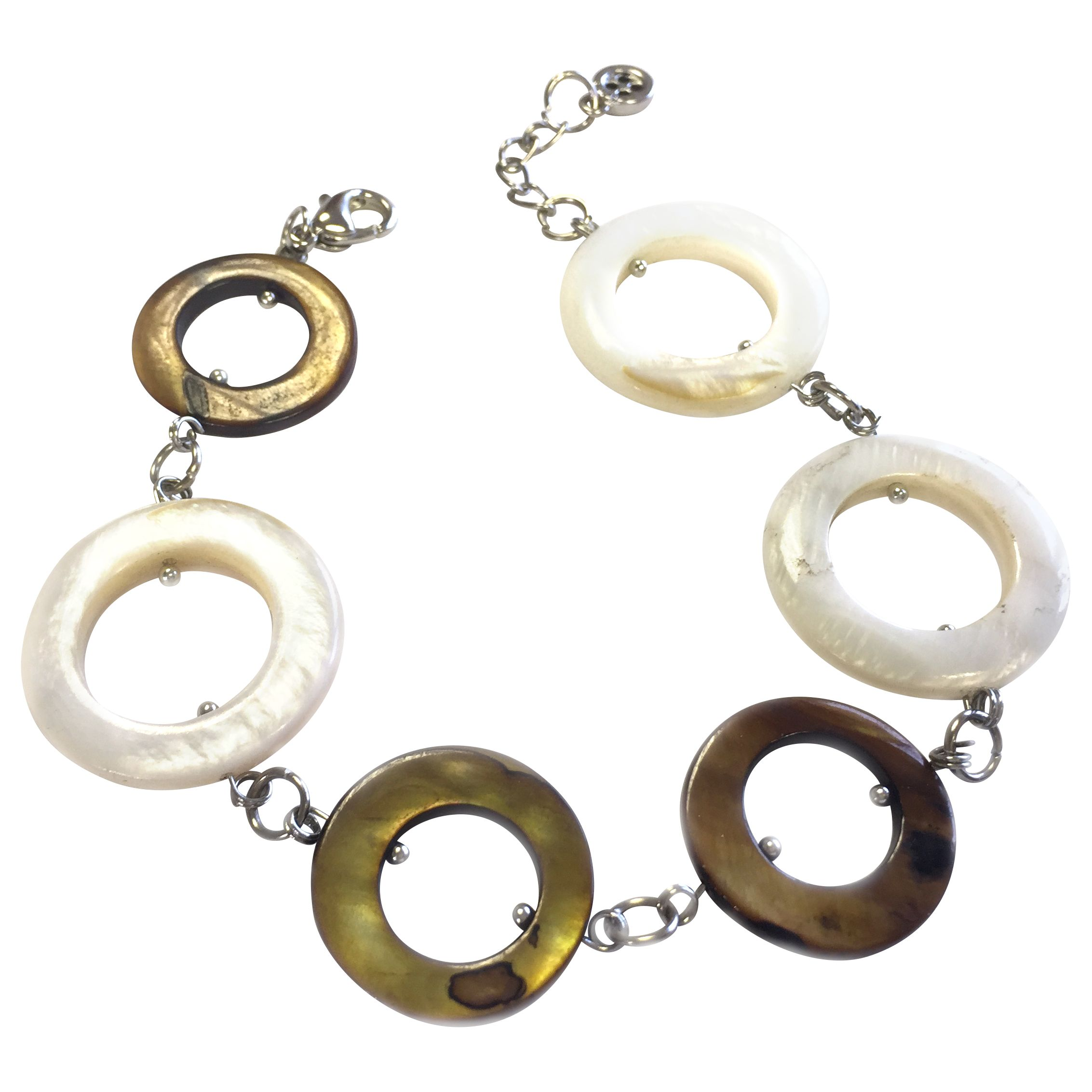 One Button One Button Mother of Pearl Circles Long Row Bracelet, Coffee/Cream