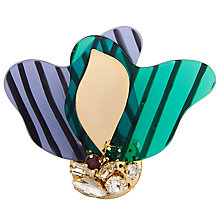 Buy John Lewis Glass Crystal Abstract Brooch, Green/Cornflower Blue Online at johnlewis.com