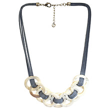 Buy One Button Large Mother of Pearl Circle Suede Strand Necklace, Grey/Natural Online at johnlewis.com