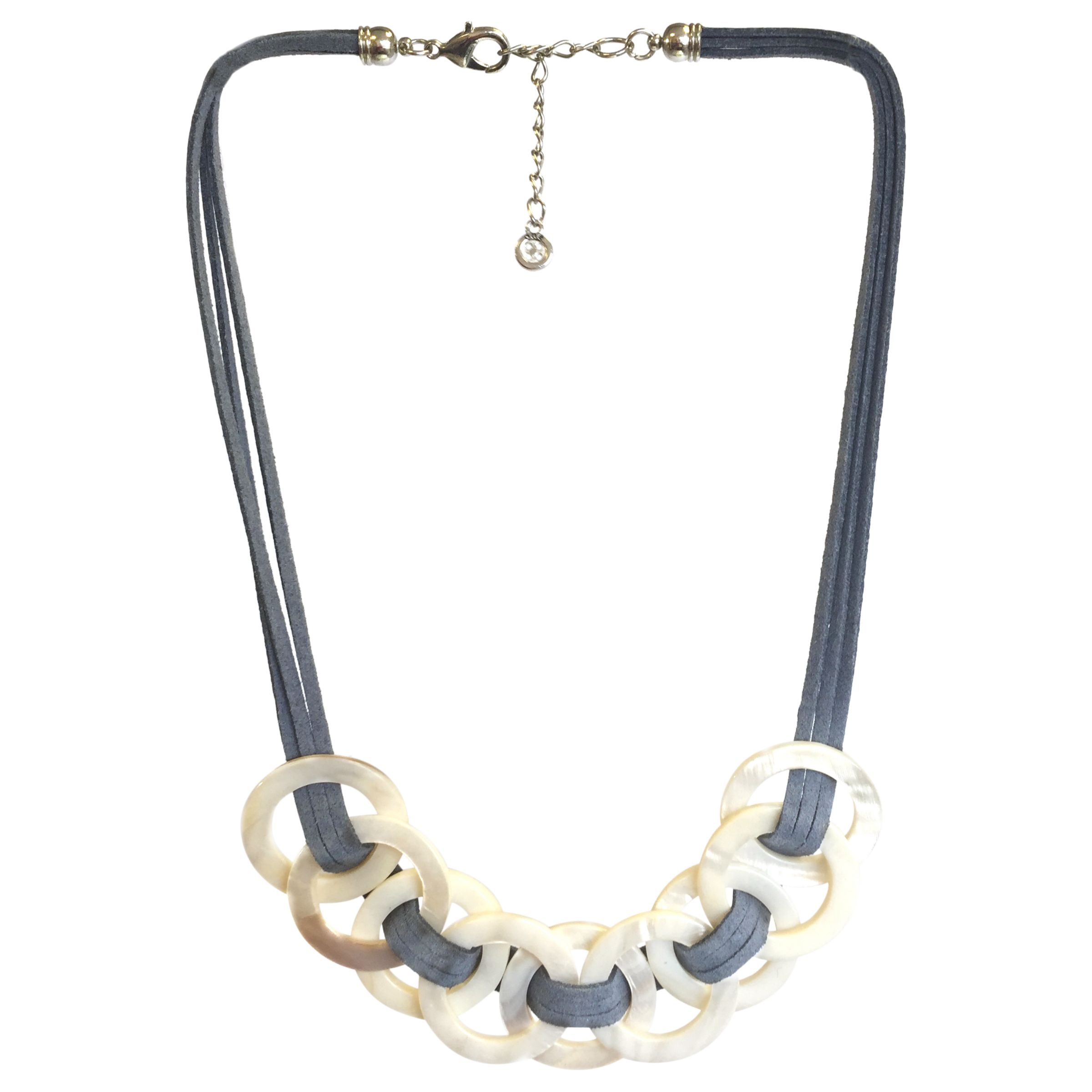 One Button One Button Large Mother of Pearl Circle Suede Strand Necklace, Grey/Natural