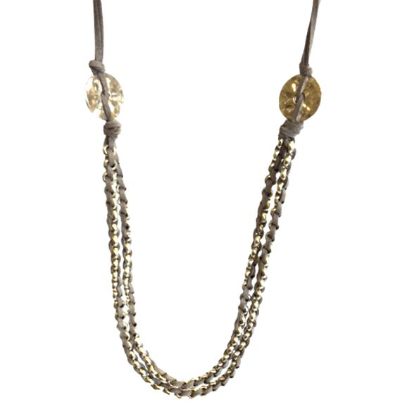 One Button One Button Long Double Rings Layered Necklace, Grey/Silver
