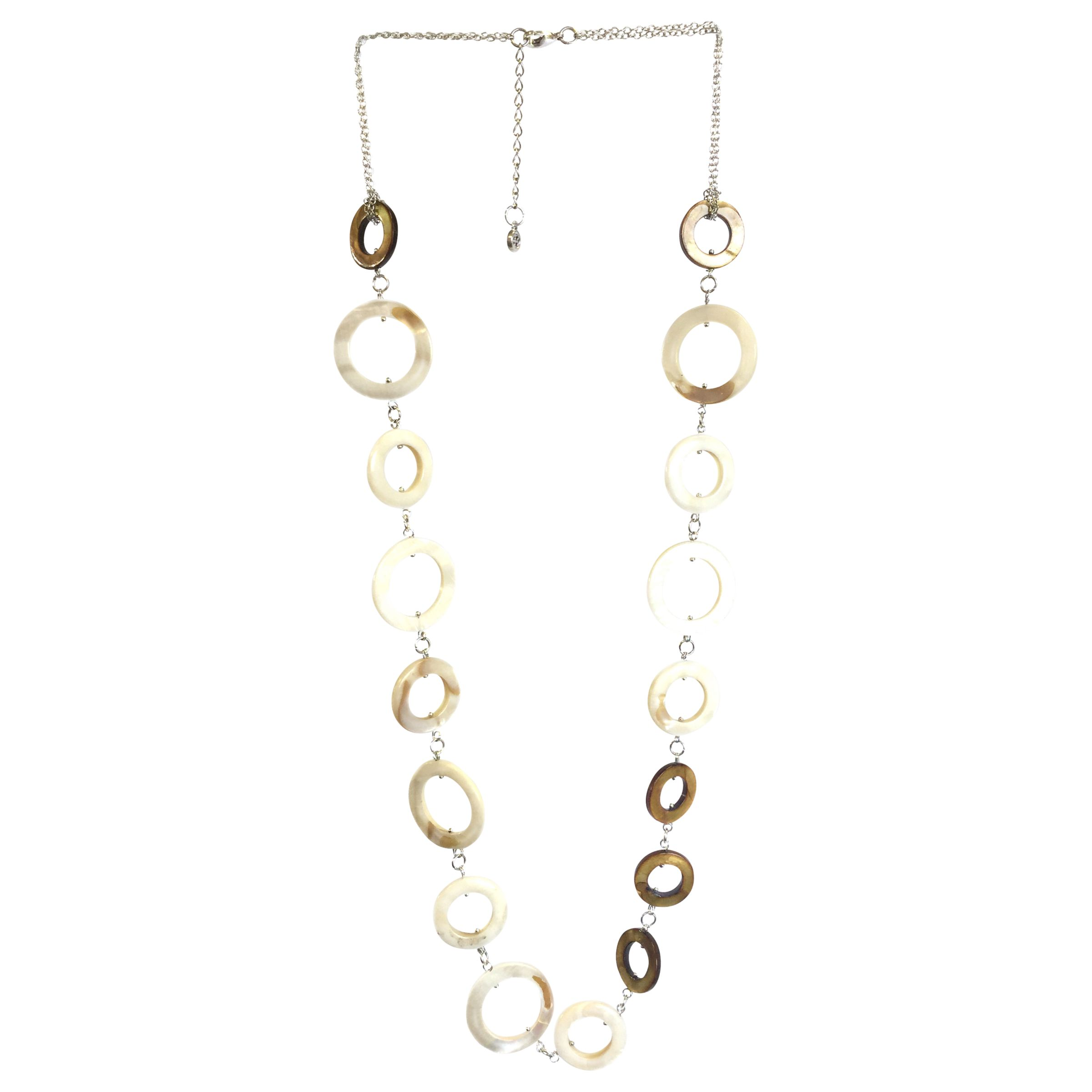 One Button One Button Mother of Pearl Circles Long Row Necklace, Coffee/Natural