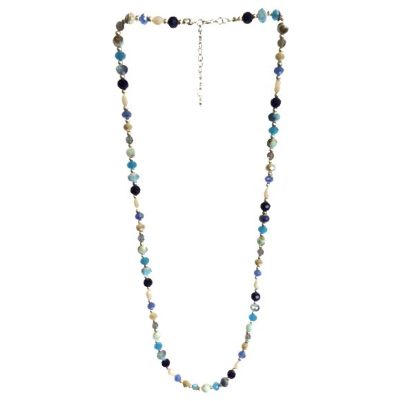 One Button One Button Super Long Faceted Bead Necklace, Blue/Multi