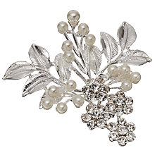 Buy John Lewis Faux Pearl and Glass Crystal Leaf Brooch, Silver Online at johnlewis.com