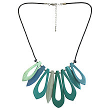 Buy One Button Short Open Wood Link Necklace, Green/Turquoise Online at johnlewis.com