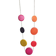 Buy One Button Wood Discs Long Chain Necklace, Fuchsia/Multi Online at johnlewis.com