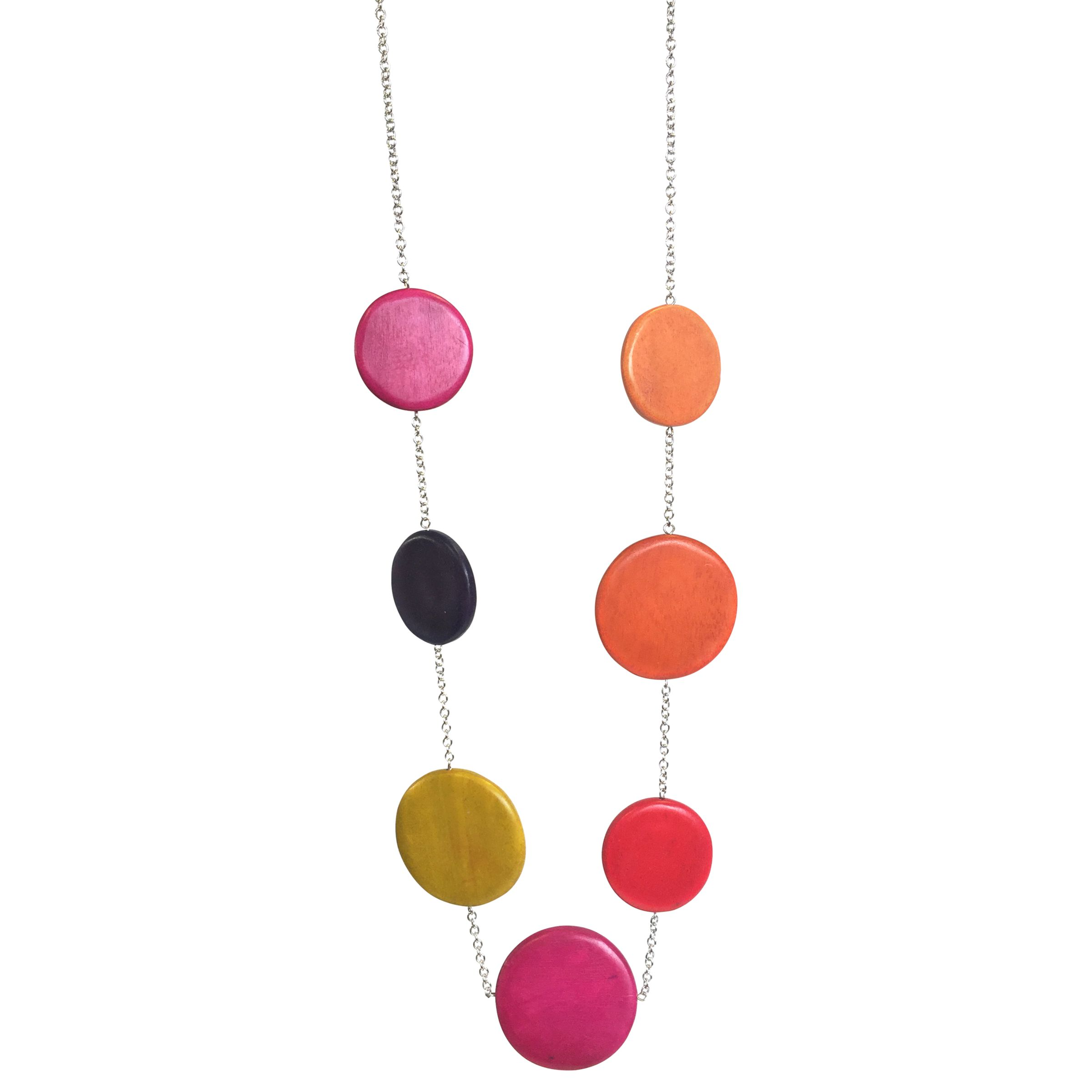 One Button One Button Wood Discs Long Chain Necklace, Fuchsia/Multi