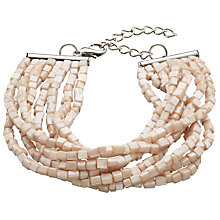 Buy John Lewis Iridescent Beaded Layered Bracelet, Blush Online at johnlewis.com