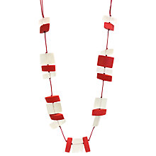 Buy One Button Faceted Bead Long Necklace, White/Poppy Red Online at johnlewis.com