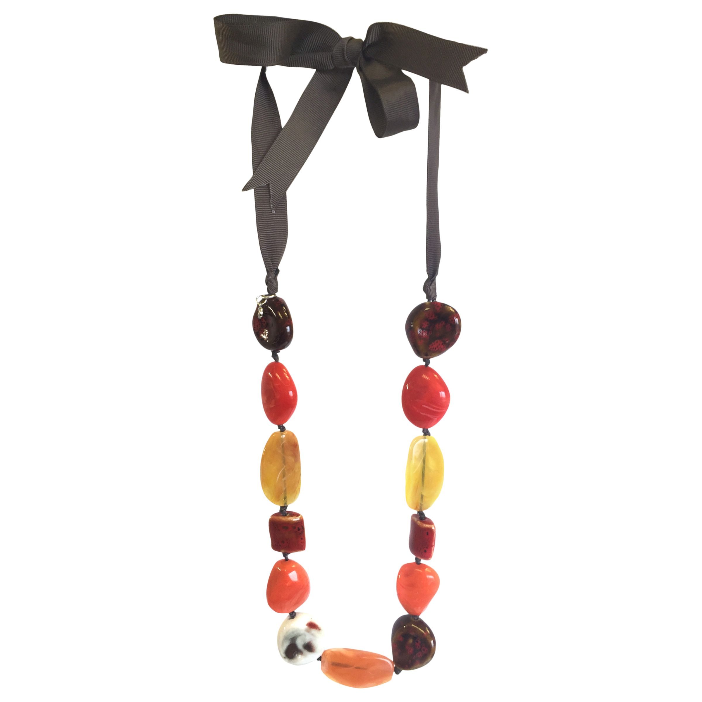 One Button One Button Mixed Bead Tie Necklace, Burnt Orange/Multi