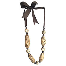 Buy One Button Mixed Bead Tie Necklace, Multi Online at johnlewis.com