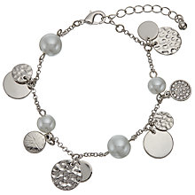 Buy John Lewis Faux Pearl and Disc Charm Chain Bracelet, Silver Online at johnlewis.com