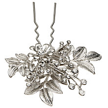 Buy John Lewis Crystal Leaf Hair Pin, Silver Online at johnlewis.com