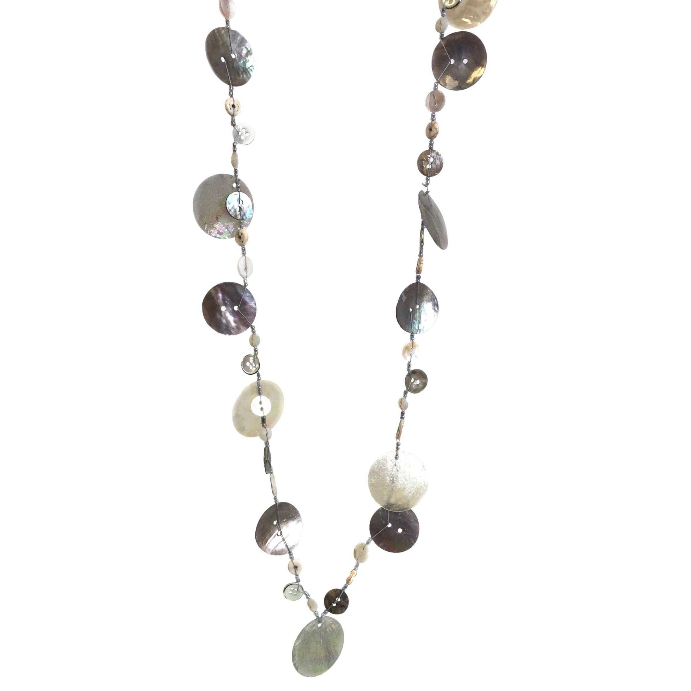 One Button One Button Super Long Mother of Pearl Mixed Disc Necklace, Natural